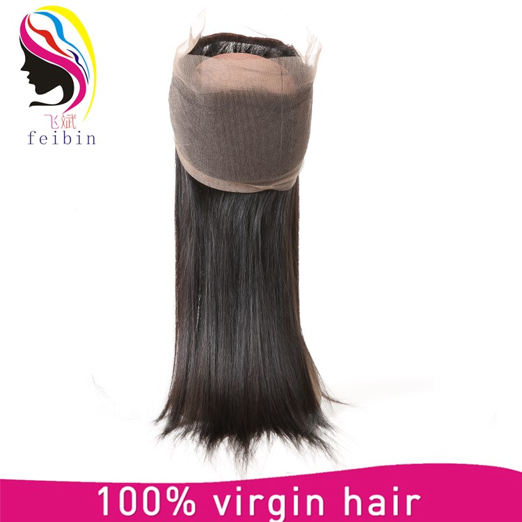 Raw Straight Brazilian Hair 360 Full Hair Lace Closure With Virgin Hair Bundles
